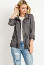 Load image into Gallery viewer, Light Weight Tencel Anorak Jacket (Color Dark Grey - Front View)