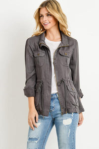 Light Weight Tencel Anorak Jacket (Color Dark Grey - Angle View)