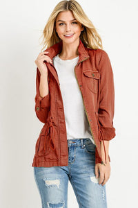 Light Weight Tencel Anorak Jacket (Color Brick - Front View)