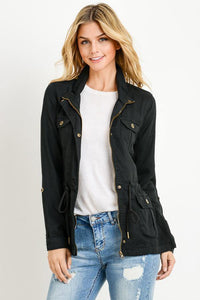 Light Weight Tencel Anorak Jacket (Color Black - Front View)