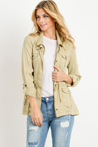 Light Weight Tencel Anorak Jacket (Color Khaki - Front View)