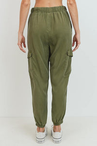 Cargo Tencel Jogger (Olive - Back View)
