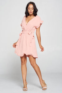 Pintuck V Dress with Ruffled Sleeves - GREY MARKET