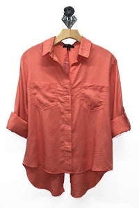 Tencel Shirt with Cut Tail (Color Coral - Front View)
