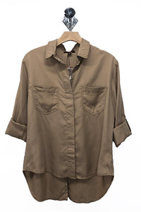 Tencel Shirt with Cut Tail (Color Khaki - Front View)
