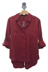Tencel Shirt with Cut Tail (Color Burgundy - Front View)