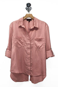 Tencel Shirt with Cut Tail (Color Mauve - Front View)