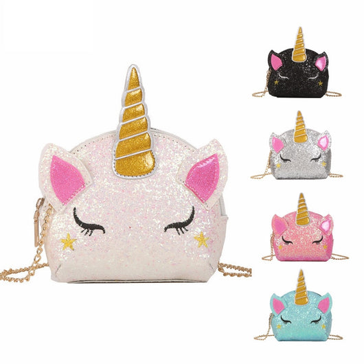 2020 New Girls Purses and Handbags For Women Small Wallet Shiny Unicorn Shoulder Bag Kid Ladies Coin Bolsa