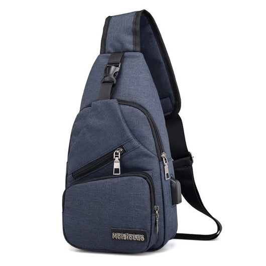 Male Shoulder Bags USB Charging Crossbody Bags Multifunctional Canvas Anti Theft Chest Bags Short Trip Messengers Bag 2020 new
