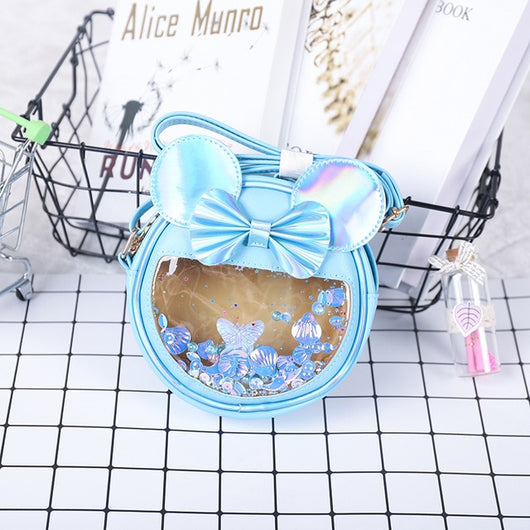 New 2020 Children Mini Purses and Handbags for Girl Shiny Crossbody Bag Cartoon Mouse Bow Cat Bag Kid Wallet Baby Money Bolsa