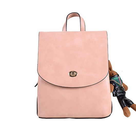 2020 New Fashion Woman Backpack PU Leather Button Decoration Phone Purse New Trendy Female Handbags Solid Bags