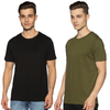 SOLID PACKS URBAN COMBO - 2 TSHIRTS PACK | JET BLACK + OLIVE GREEN