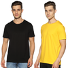 SOLID PACKS URBAN COMBO - 2 TSHIRTS PACK |JET BLACK + GOLDEN YELLOW