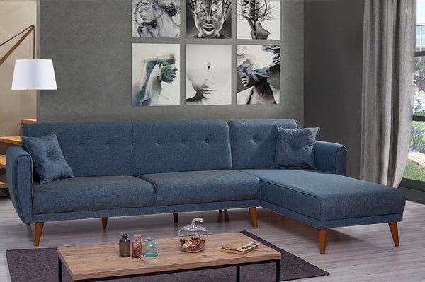 Aria corner Sofa Bed, Navy Blue