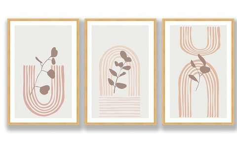 Pastel Foliage Art, Trio