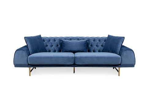 Nepal Three Seater Sofa, Dark Blue