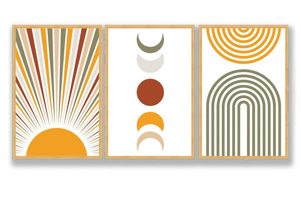 Burning Sun Wall Art, Trio