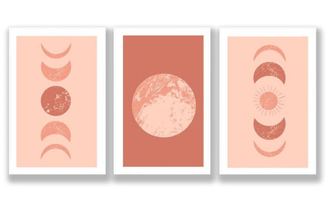Moon Cycle Wall Art, Trio