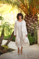 Linen Robe Coat with Matching Trousers