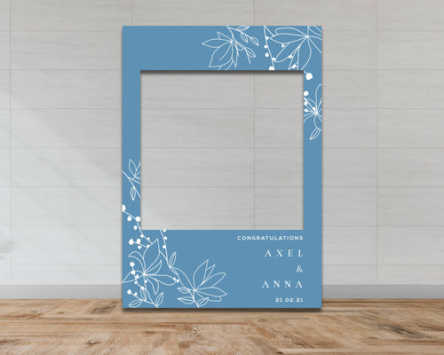 Wedding & Engagement Selfie Frame - Blue Floral Pattern-Selfie Frames