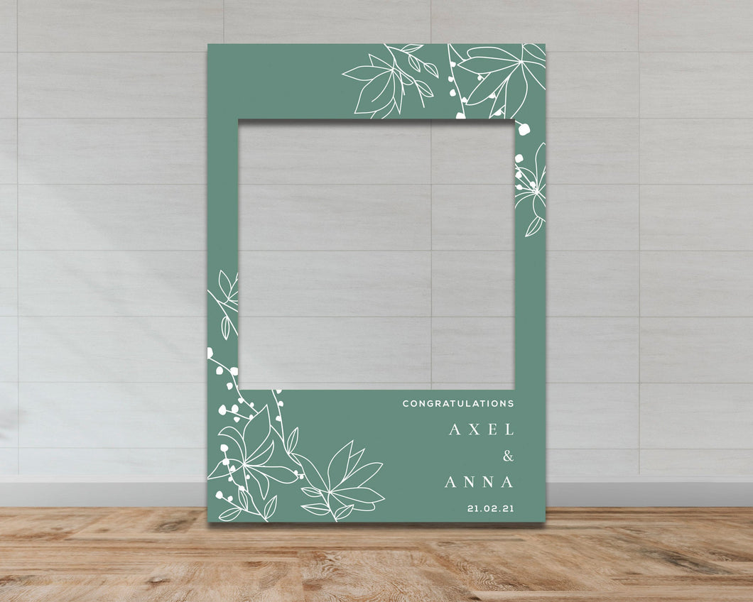 Wedding & Engagement Selfie Frame - Green Floral Pattern-Selfie Frames