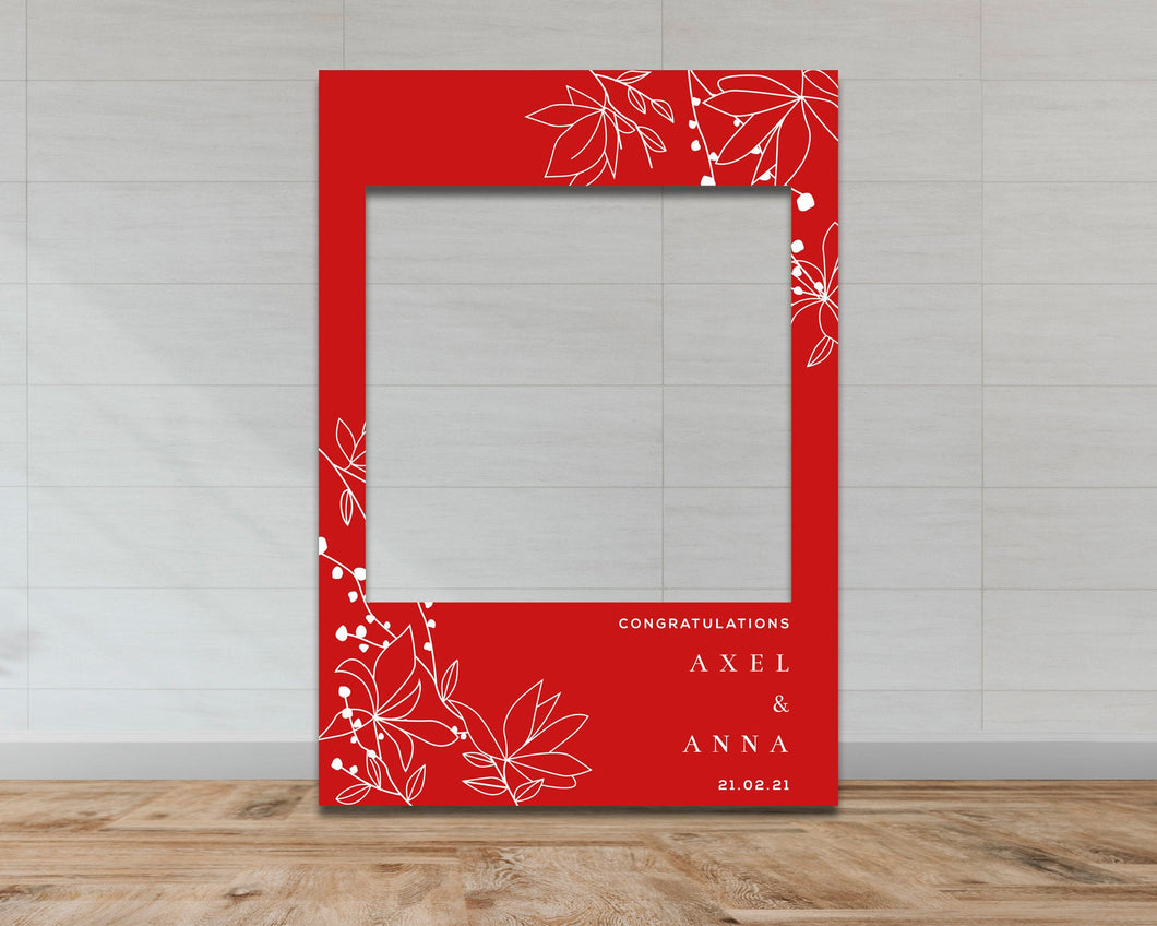 Wedding & Engagement Selfie Frame - Red Floral Pattern-Selfie Frames
