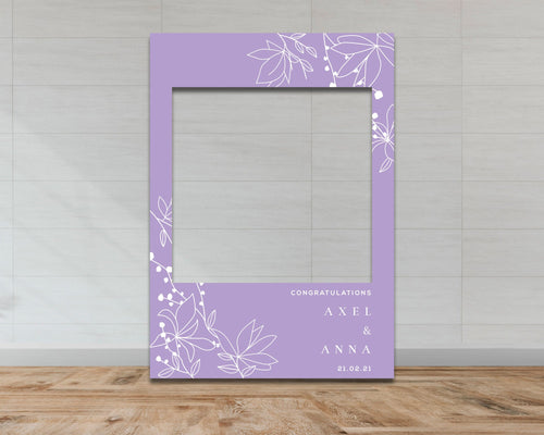Wedding & Engagement Selfie Frame - Purple Floral Pattern-Selfie Frames