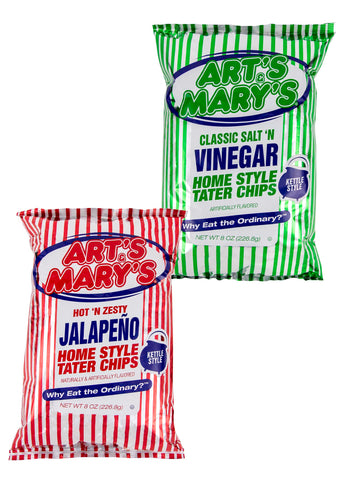 Art's & Mary's - Variety Case Home Style Tater Chips (Jalapeno & Vinegar)