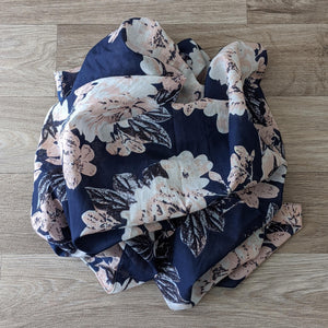 LADIES ORGANIC COTTON SCARF (BLUE FLORAL)