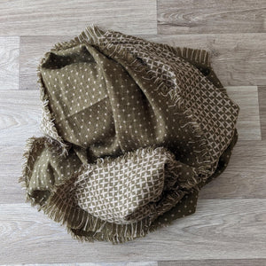 LADIES WOOL SCARF (GREEN/BROWN)