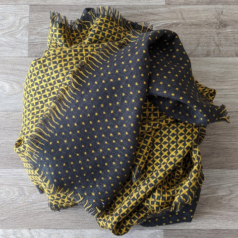LADIES WOOL SCARF (GREY/MUSTARD)