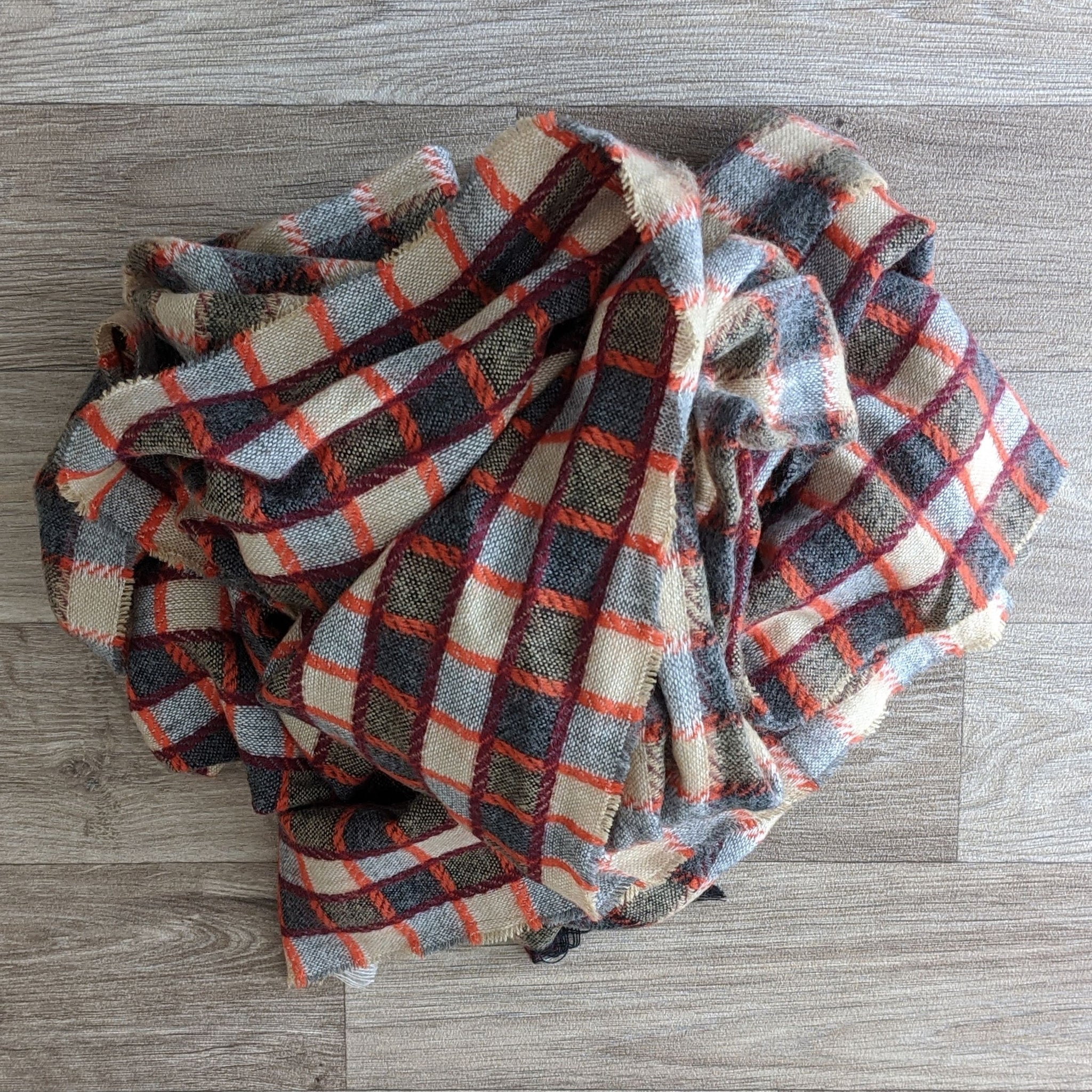 LADIES WOOL SCARF (ORANGE CHECK)