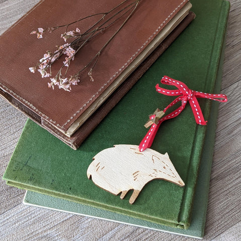 WOODEN BADGER HANGING DECORATION