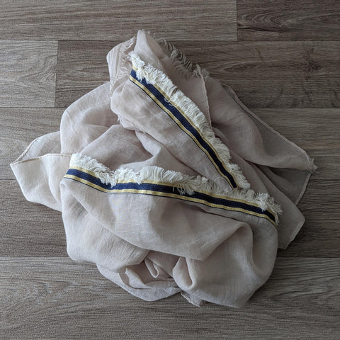 LADIES COTTON SCARF (BLUE/GOLD TRIM)