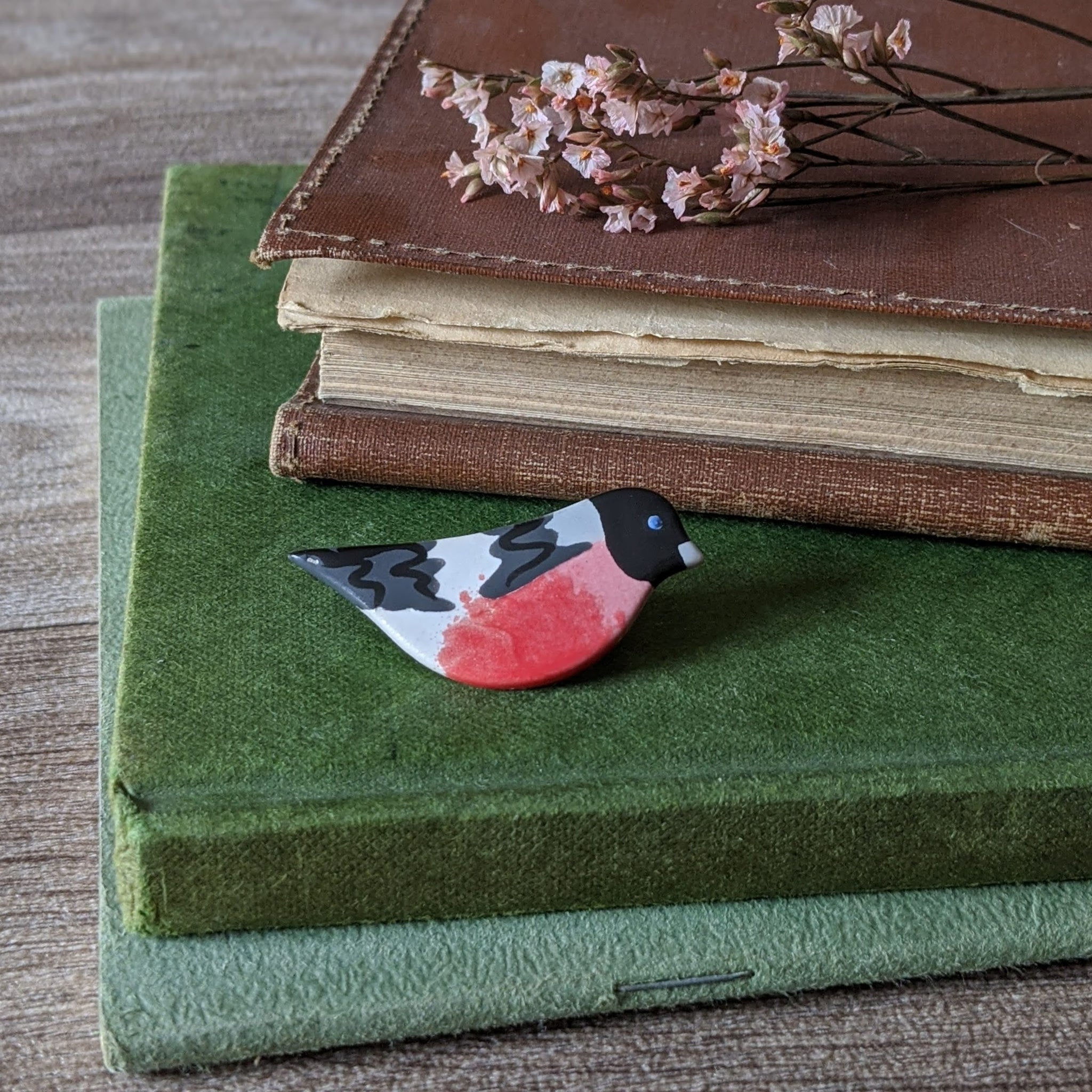 CERAMIC BIRD BROOCH (BULLFINCH)