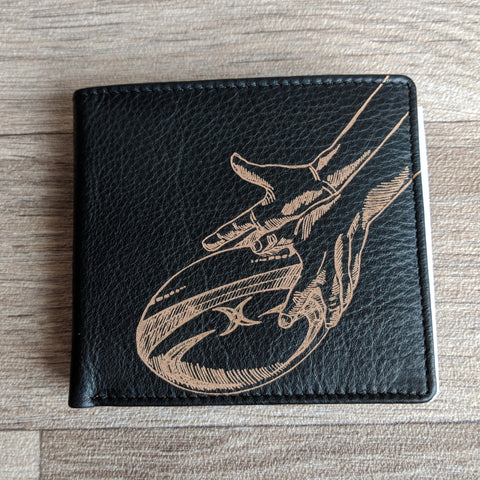 BLACK LEATHER WALLET (RUGBY)