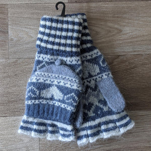 FINGERLESS FAIR ISLE GLOVES (BLUE)