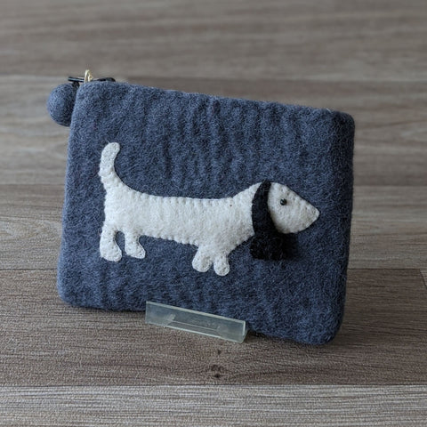 FELTED SAUSAGE DOG COIN PURSE