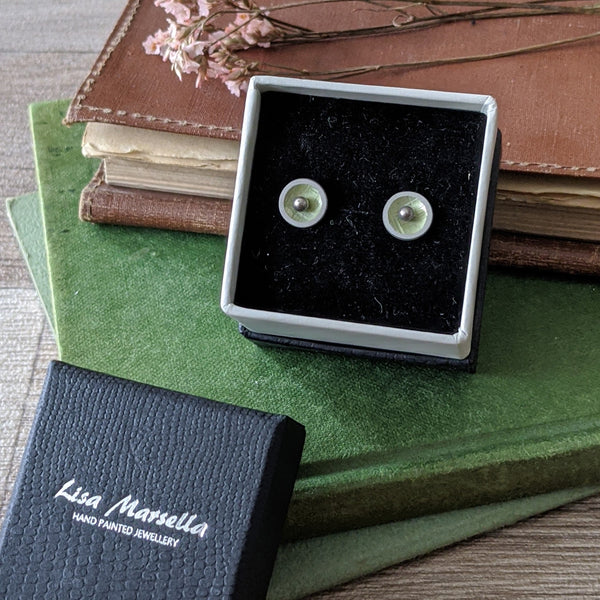 GREEN ALUMINIUM STUD EARRINGS