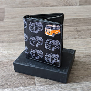 BLACK LEATHER WALLET (CAMPERVAN)