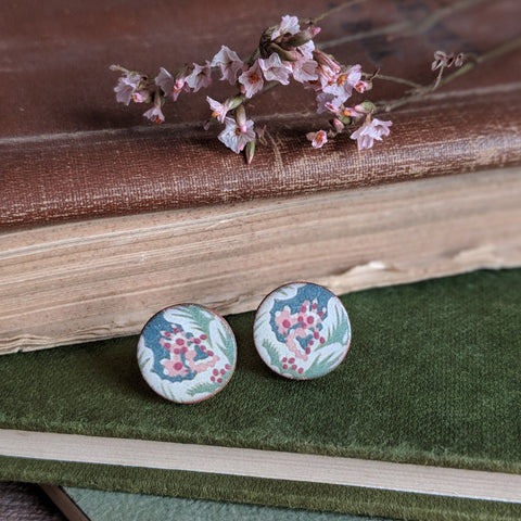 CERAMIC STUD EARRINGS (BLUE/PINK FLORAL)