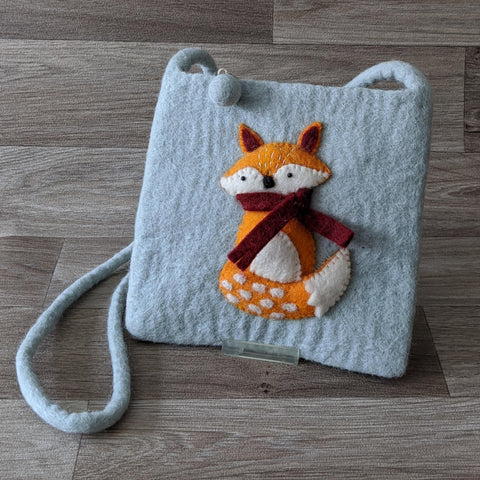 FELTED FOX POUCH BAG