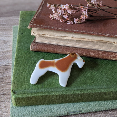 PORCELAIN BROOCH (FOX TERRIER)