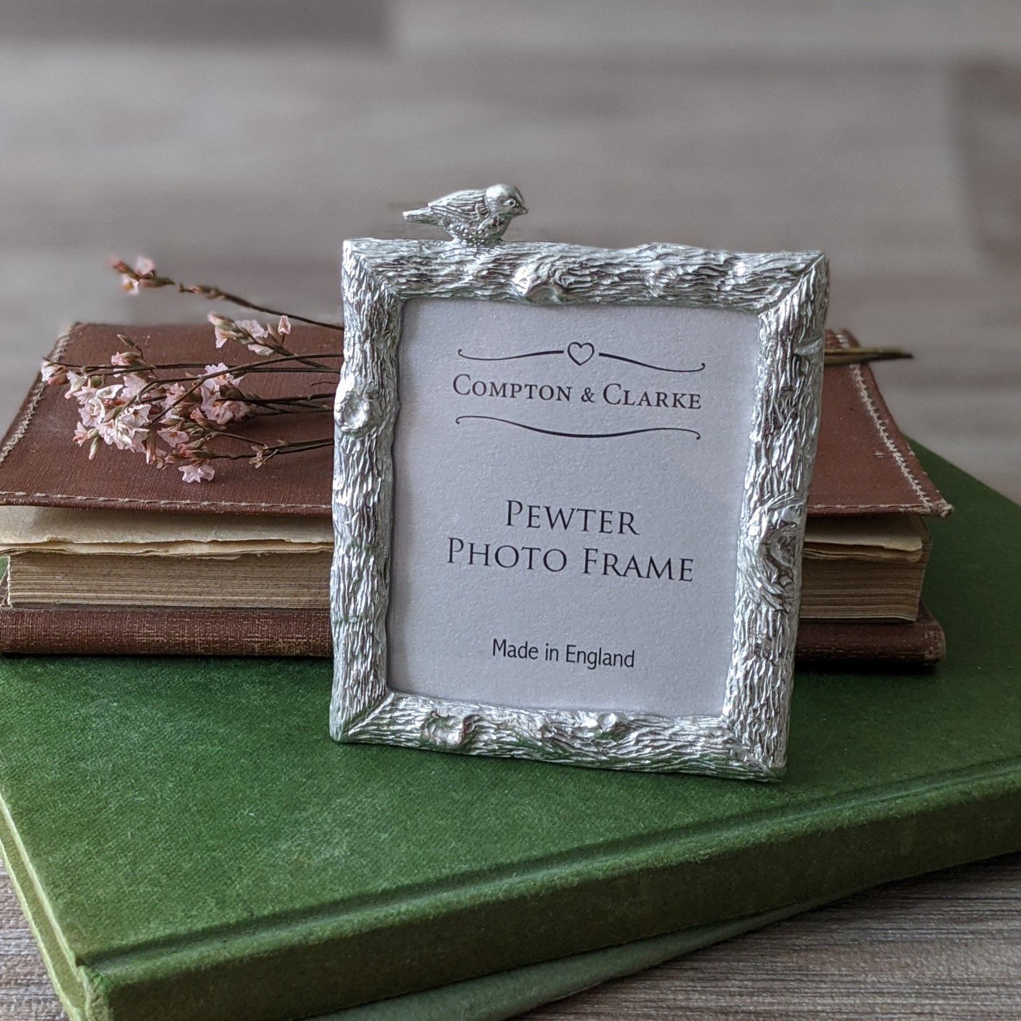MINIATURE PEWTER PHOTO FRAME