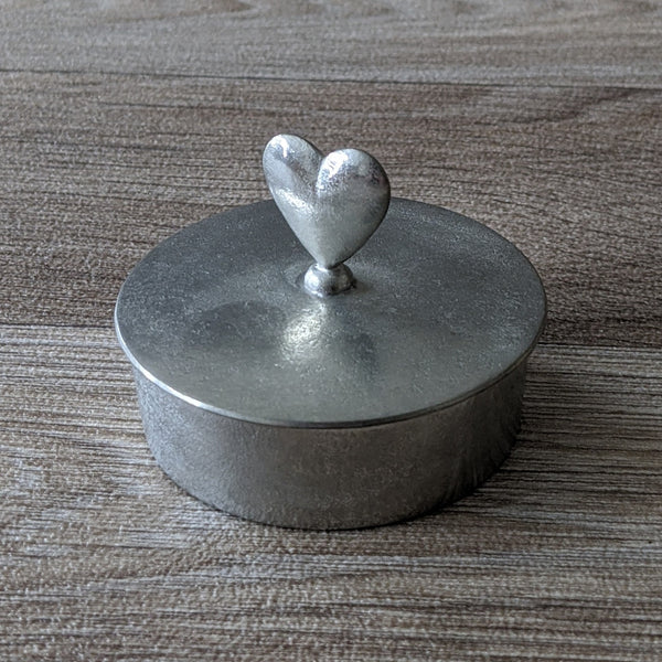 PEWTER HEART TRINKET BOX