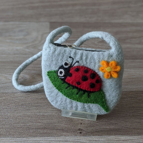 FELTED LADYBIRD POUCH BAG