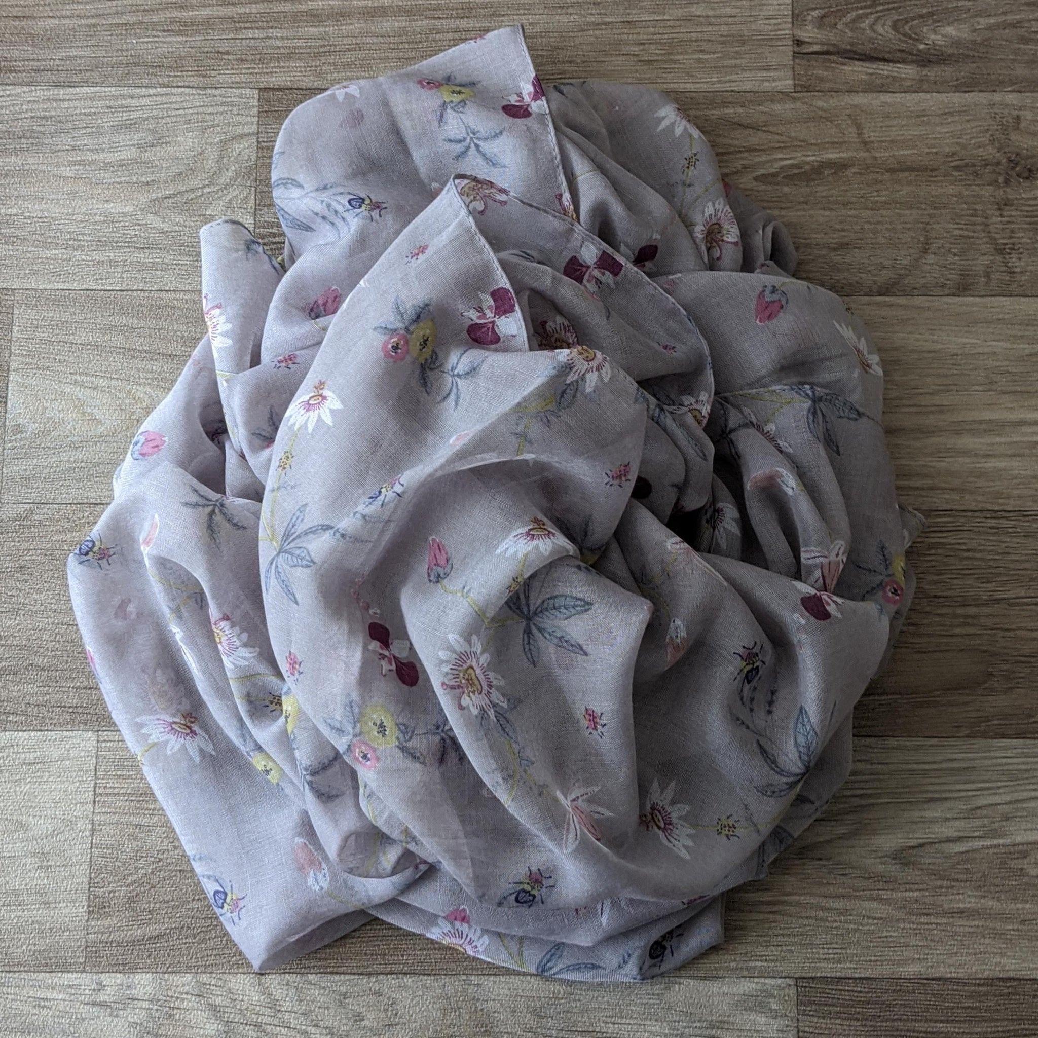 LADIES COTTON SCARF (MAUVE FLORAL)