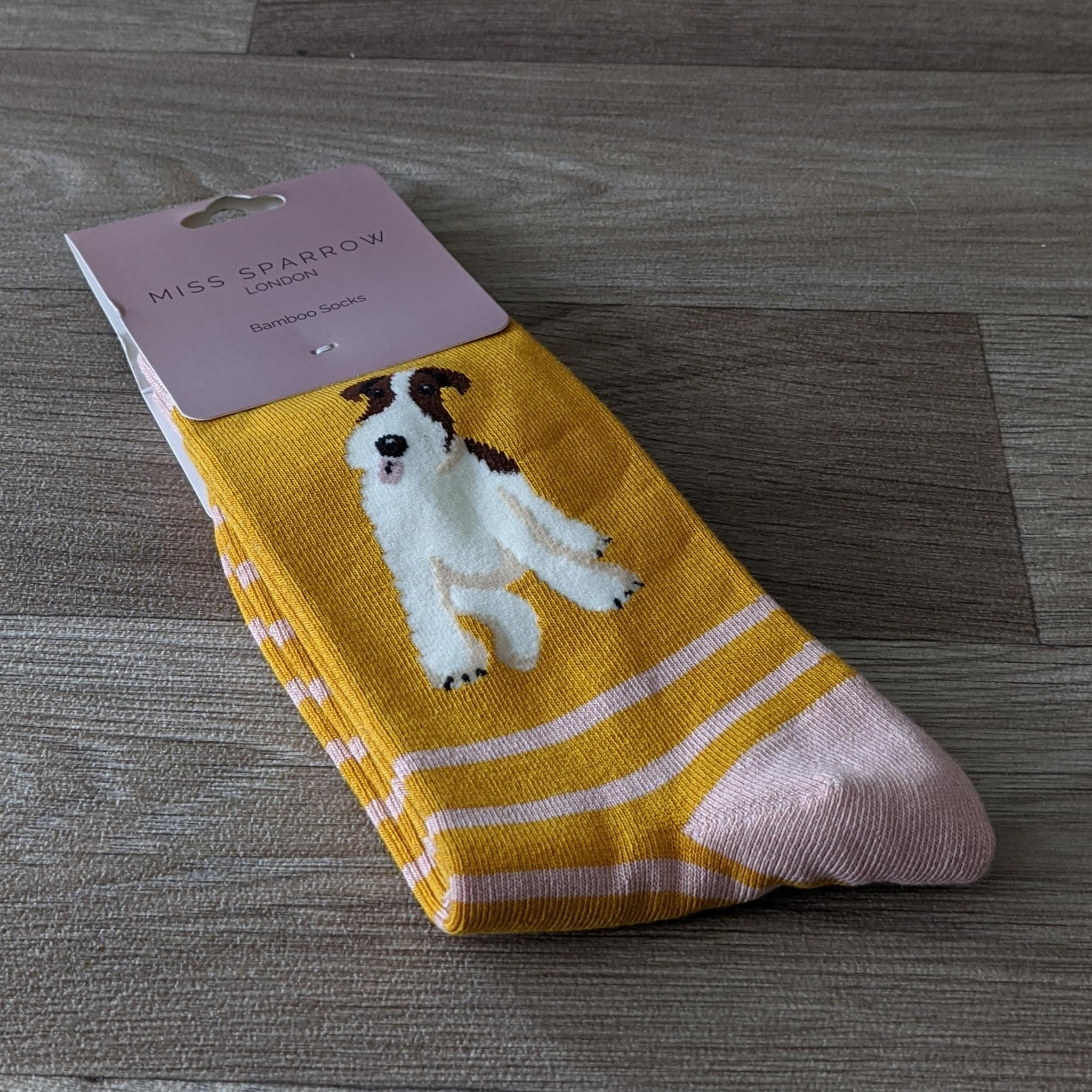 LADIES SOCKS (MUSTARD STRIPE TERRIER)