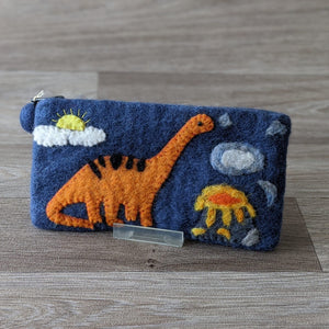 FELTED DINOSAUR PENCIL CASE