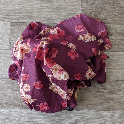 LADIES ORGANIC COTTON SCARF (PURPLE FLORAL)